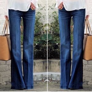 Theory Blue Wide Leg Flare Trousers Jeans Pants